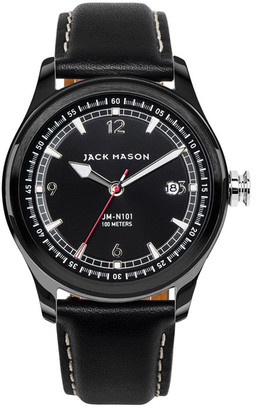 JACK MASON BRAND Men&s Brand Nautical Italian Leather Strap 42mm Watch $205 thestylecure.com