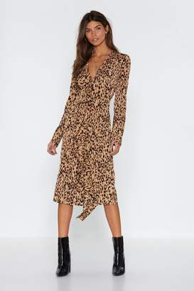 Nasty Gal Womens Leopard Meow-Ment Ruffle Midi Dress - Beige - 10, Beige