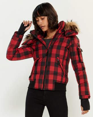 SAM. Real Fur-Trimmed Plaid Down Jacket