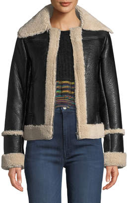 Mother The Boxy Zip Moto Faux-Leather Jacket