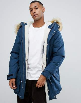 Hunter insulated parka with faux fur hood and removable fleece lining in navy