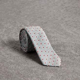 Burberry Slim Cut Chenille Dot Cotton Silk Tie
