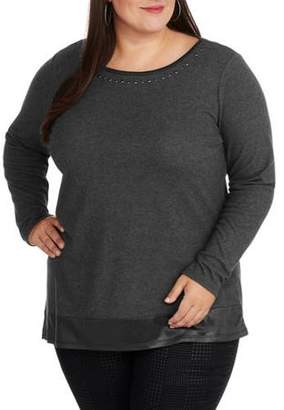 Laundry by Shelli Segal French Women's Plus Embrodiered Neck Asymemetrical Bottom Knit Top
