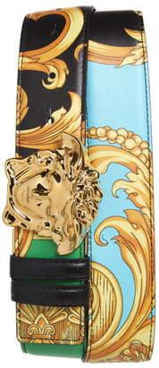 Versace Medusa Buckle Printed Leather Belt