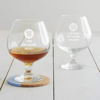 Becky Broome Personalised Special Age Birthday Brandy Glass For Him