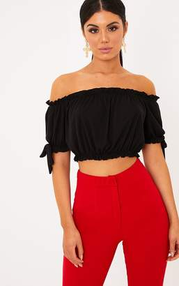 PrettyLittleThing Norah Black Bardot Bow Sleeve Jersey Crop Top