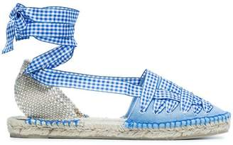 Castaner blue Jean gingham ribbon cotton espadrilles