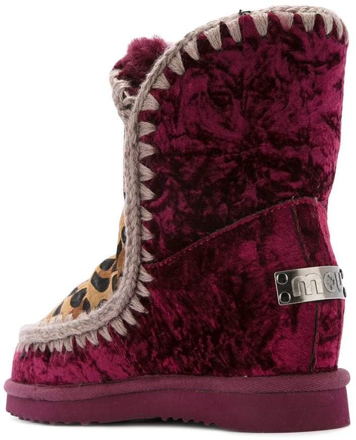 Mou velvet and leopard print Inner Wedge boots