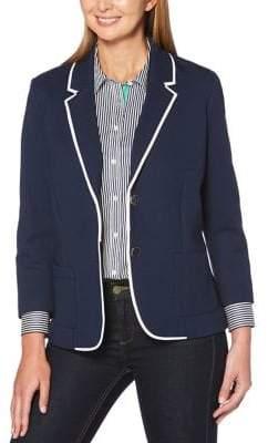 Rafaella Contrast-Trimmed Cotton Blazer