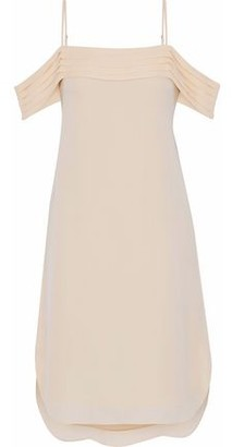 Alexander Wang Cold-Shoulder Pleated Silk Crepe De Chine Dress