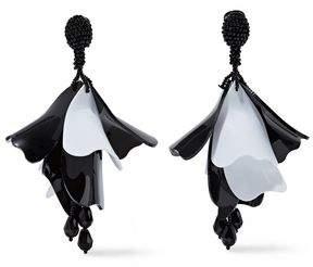 Oscar de la Renta Silver-Tone Bead And Coated Resin Clip Earrings