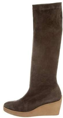 Robert Clergerie Suede Knee-High Wedge Boots