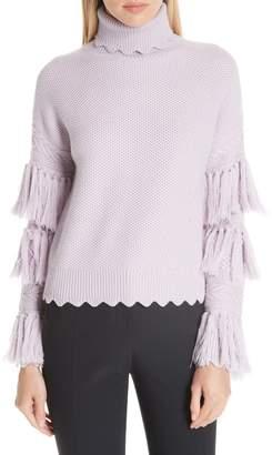 Jonathan Simkhai Tassel Trim Wool Turtleneck Sweater