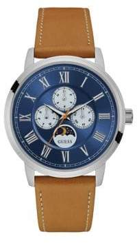 GUESS W0870G4 Chronograph Silvertone Case Tan Leather Strap Watch