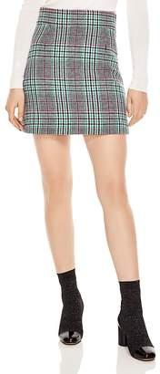 Sandro Freedom Houndstooth Plaid A-Line Skirt