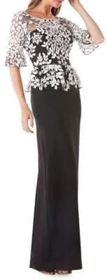 JS Collections Lace Bell-Sleeve Peplum Dress