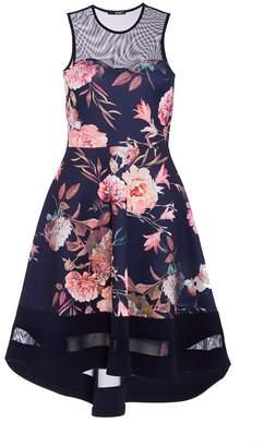 Quiz Navy And Pink Floral Dip Hem Dress