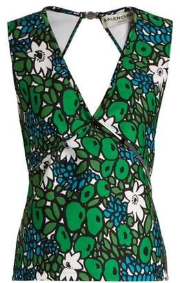 Balenciaga Floral Print Wrap Style Bonded Jersey Tank Top - Womens - Green Multi