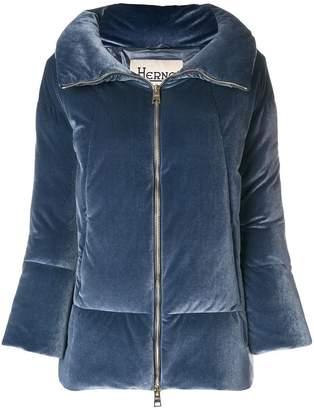 Herno velvet-effect puffer jacket