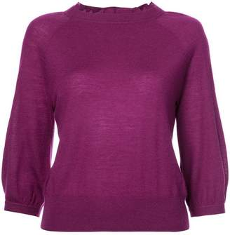 Co ruffle-trim fitted sweater
