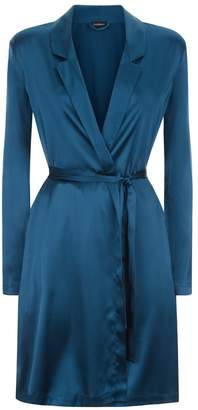 La Perla Silk Reward Petrol Short Silk Robe