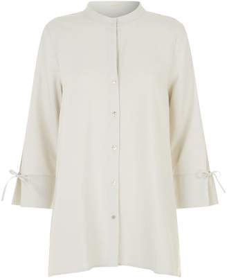 Eileen Fisher Collarless Silk Blouse