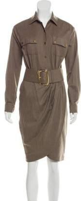 Michael Kors Belted Wool Dress Khaki Belted Wool Dress