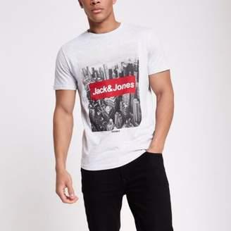 River Island Jack and Jones Originals grey photo T-shirt