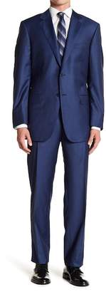 Hickey Freeman Blue Two Button Notch Lapel Classic Fit Suit