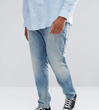 Asos DESIGN PLUS Slim Jeans In Mid Wash Vintage With Abrasions