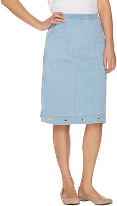 Denim & Co. Pull On Stretch Denim Skirt with Pockets & Grommet Detail