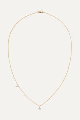 STONE AND STRAND - Moon And Star 14-karat Gold Diamond Necklace
