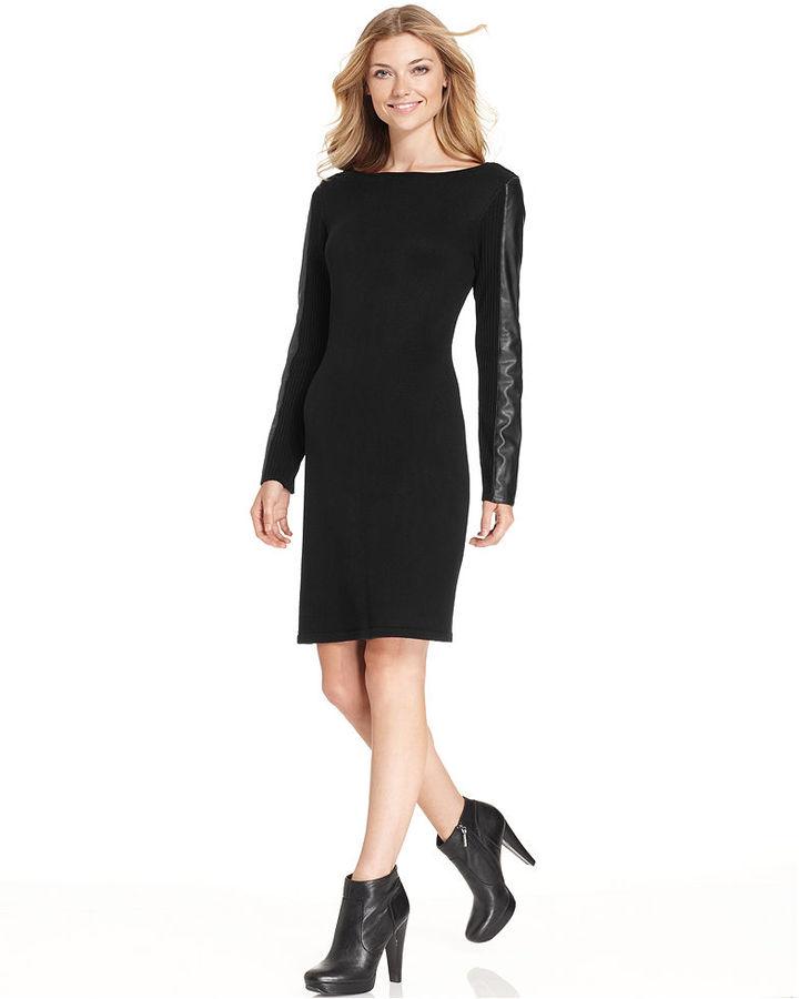 Calvin Klein Faux-Leather-Trim Sweater Dress