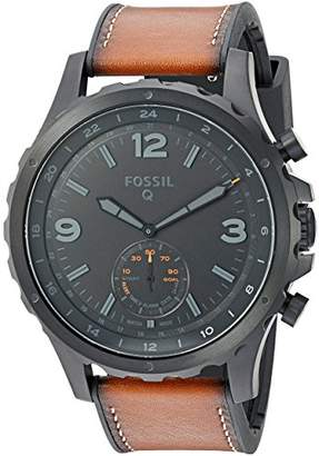 Fossil Q Men's Nate Stainless Steel and Leather Hybrid Smartwatch