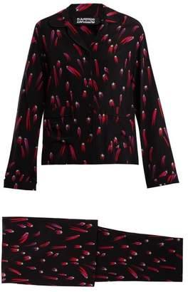 Rockins - Shooting Star Print Silk Crepe Pyjama Set - Womens - Black Pink