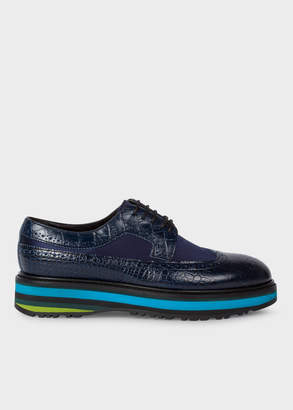 Paul Smith Women's Dark Navy Mock-Croc Leather 'Grand' Brogues With Striped Soles