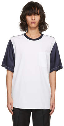 3.1 Phillip Lim White and Navy Classic Bifabric T-Shirt