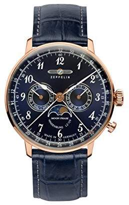 Zeppelin Series LZ129 Hindenburg Multifunction Men's Day/Date Moon Phase Analog Watch Rose Gold and 7038-3