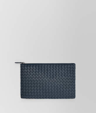 Bottega Veneta MEDIUM DOCUMENT CASE IN DENIM INTRECCIATO NAPPA LEATHER