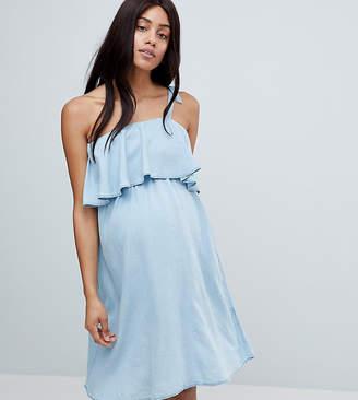 Mama Licious Mama.Licious Mamalicious One Shoulder Chambray Dress