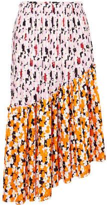 Kenzo Asymmetric Printed Pleated Crepe Midi Skirt - Pink