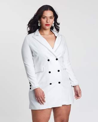 Crepe Detail Stitching Blazer Dress