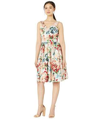 Tahari ASL Cotton Sateen Water Color Floral Party Dress