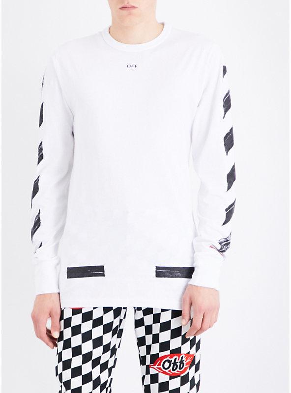 Off-White C/O Virgil Abloh Brushed logo-print cotton-jersey T-shirt