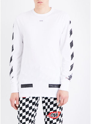 Off-White C/O Virgil Abloh Brushed logo-print cotton-jersey T-shirt $235 thestylecure.com