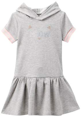 Zunie Short Sleeve Drop Waist Hoodie Dress (Toddler & Little Girls)