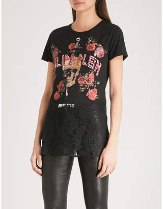 Philipp Plein You And embellished cotton and lace T-shirt