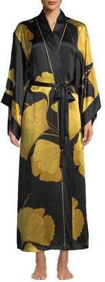 Josie Natori Long Ginkgo Leaf-Print Silk Drop-Sleeve Robe