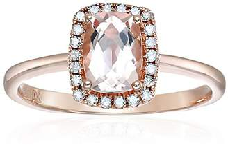 10k Rose Gold Morganite and Diamond Halo Engagement Ring (1/10cttw
