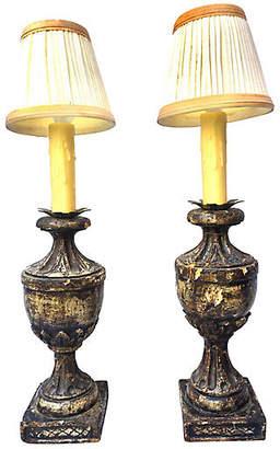 One Kings Lane Vintage Italian Carved Wood Urn Lamps - Set of 2